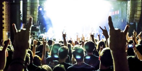 music concert people and hands up heavy metal